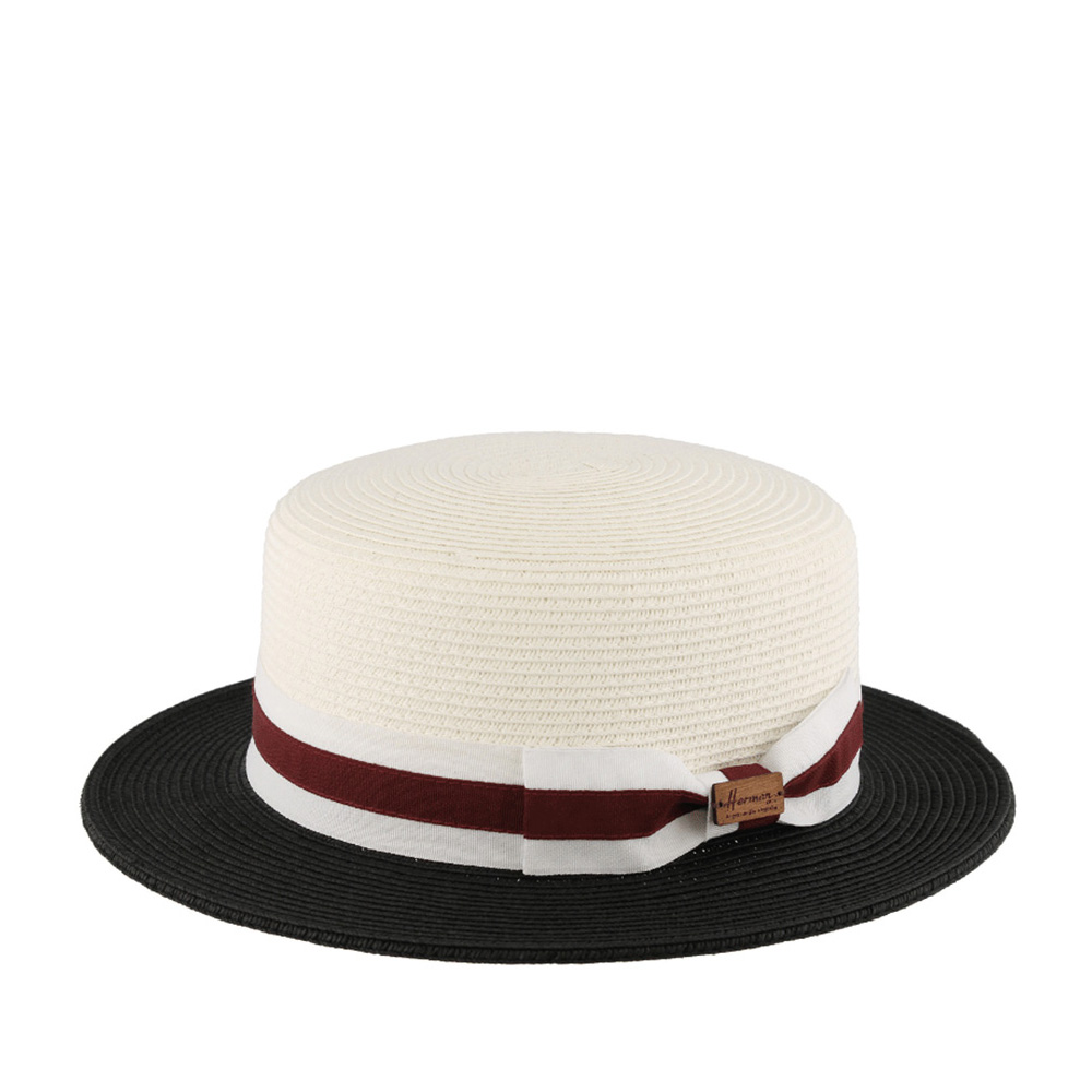Шляпа HERMAN арт. BOATER S1702 (белый / черный)