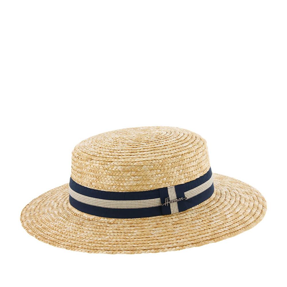 Шляпа HERMAN арт. BOATER 007 (бежевый / синий) {blue}