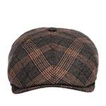 Кепка STETSON арт. 6640203 6-PANEL CAP WOOL CHECK (серый / рыжий)