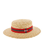 Шляпа HERMAN арт. BOATER S1801 (бежевый / красный) {red}
